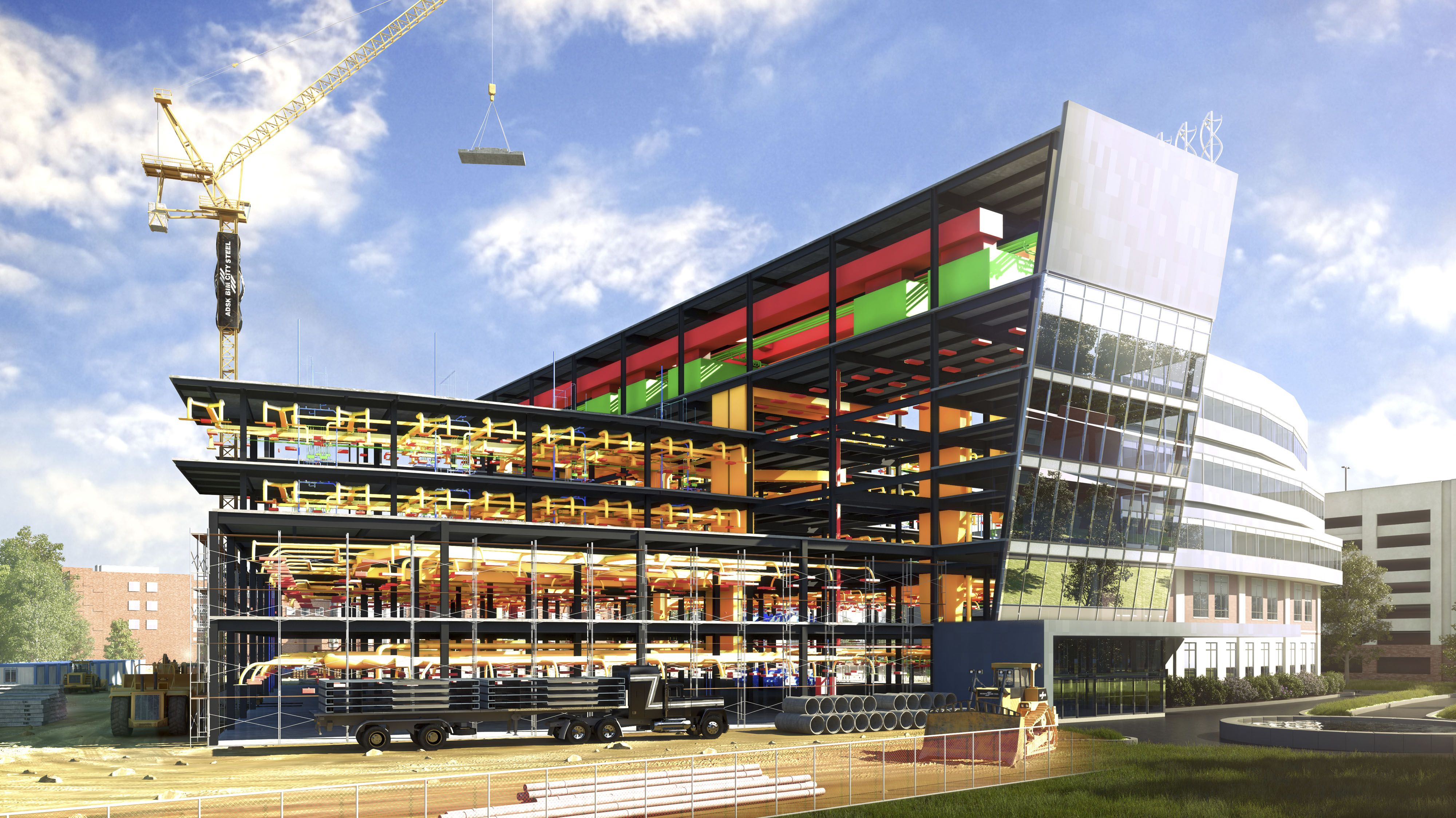 Rendering of the BIM City Westside Hospital data set highlighting MEP engineering components.